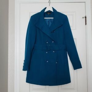 Forever 21 teal pea coat